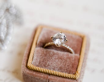 Ring Box - Velvet Ring Box - Vintage Style - Proposal Ring Box - Engagement ring box - Wedding - Personalized Gift - Gold