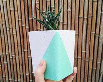 Concrete Succulent Pot, concrete decor, rectangle pot, cactus pot, pastel decor, cement pot, concrete planter, indoor planter,