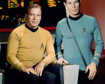 Classic 1960s Star Trek TV Show Kirk and Spock  Color Photograph— More Celebrity Photos available Too