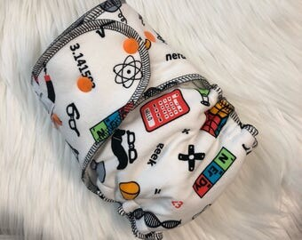 Science Laboratory Nerd Geek Hybrid Fitted Cloth Diaper - zorb organic one size OS FDR