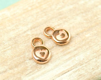 4x Heart Pendant mini 6mm rose gold plated #4551