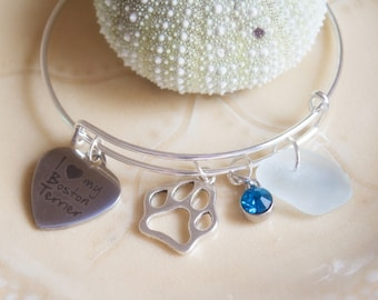 Boston Terrier Sea Glass Charm Bracelet-When purchased 10 dollars goes to BTRC-Boston Terrier Rescue Canada