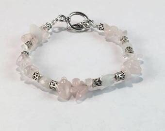 Handmade Women's Genuine Pink Rose Quartz, Moonstone Beaded Bracelet Jewelry Rose Quartz Bracelet Gift for her Genuine Moonstone bracelet