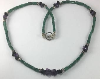 Handmade Genuine Emerald Green Aventurine Necklace, Genuine Purple Amethyst Necklace, Green Stone Necklace, purple stone necklace
