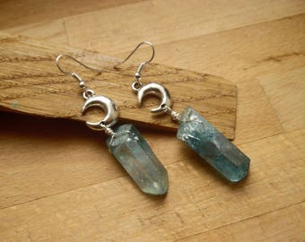 * Sezabre * Lunar blue aura quartz earrings.