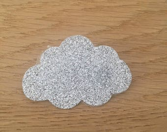 For girl personalized glitter cloud brooch