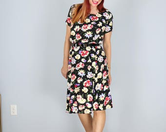 1980s Dress - Floral Dress - Day Dress - Short Sleeve - Summer Spring - Elastic Waist - Dancing Dress - Liz Claiborne - Size Small/Medium