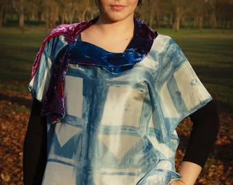 """""""Indigo"""" hand dyed silk boho tunic"""