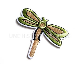 Patch, badge fusible Dragonfly to sew or iron 68 x 78 mm