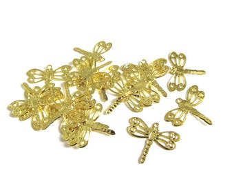 20 charms Dragonfly filigree gold 12 x 14 mm