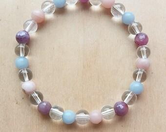 angelite bracelet, ruby bracelet, opal bracelet, pink opal bracelet, pink opal, angelite, natural gemstone, peacefullharmony, crystal