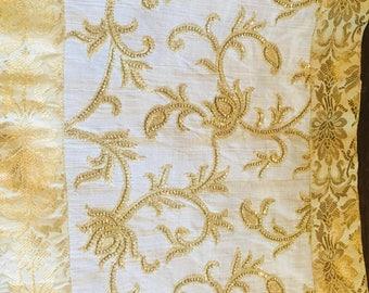 White and Gold Brocade SilkTable Runner