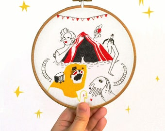 Hoop art - Circus - Hand embroidered
