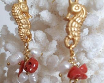 White Baroque pearl earrings, Mediterranean Red coral and seahorses brass, silver