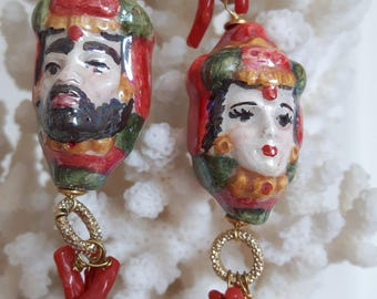 Earrings with coral and silver Caltagirone ceramics, teste di moro