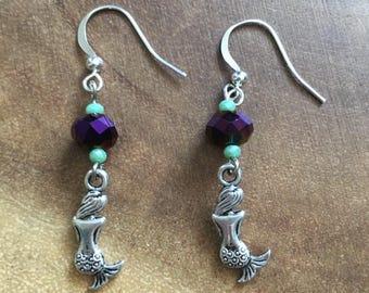 Mermaid Earrings, Mermaid Jewelry, Ocean Earrings, Beach Earrings, Dangle Earrings,Purple Earrings, Beaded Earrings, Womens Earrings.Fantasy