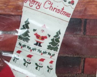 Bucilla Santa and Friends Counted Cross Stitch Stocking Kit 32462 with Snowmen & Bears