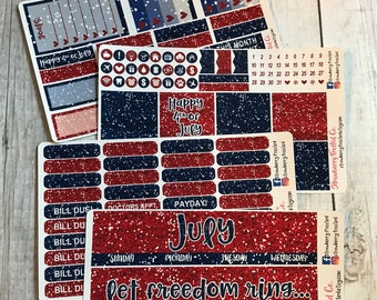 July (Fourth of July Glitter)---- Monthly Planner Kit ---- {Includes 160+ Stickers}