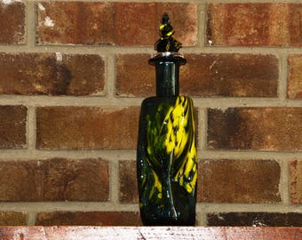 Hand Blown Glass Wine Bottle w/ Stopper