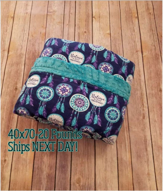 Weighted Blanket, 20 Pound, Dreamcatcher, Teal Minky, 40x70, READY TO SHIP, Twin Size, Adult Weighted Blanket, Next Business Day To Ship