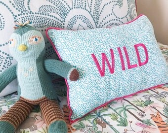 Wild Throw Pillow, Valentines Day Gift for Kids, Teal Blue Nursery decor, Teen Girl Room Decor, Safari Childrens Decor, Modern Nursery