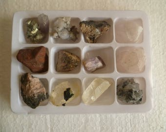 12 pcs, crystals minerals collection from Bulgaria, collectible education set,