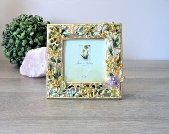 Vintage 3 x 3 Ornate Gold Metal Frame - Enameled Filigree Photo Frame With Jewels and Enamelled Accents