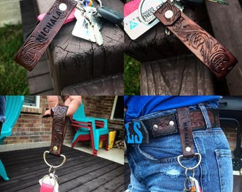 Custom Tooled Leather Keychains