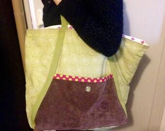 """Shopping bag """"Green Velvet and country"""""""