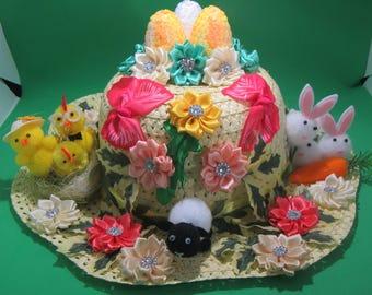 Girl's Easter Hat, Easter bonnet, Yellow Easter parade hat, Girls Easter bonnet, Child's Easter Straw Hat, Easter bonnet, egg hunt hat, hat