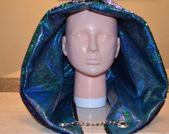 Reversible Sequin Mermaid and Matte Black Festival Hood/ Rave Hood/ Spirit Hood / Burning man Hood with turquoise lining