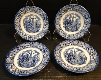 FOUR Staffordshire Liberty Blue Saucers Old North Church Set of 4 EXCELLENT!