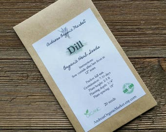 Organic Dill Seed, non-GMO Herb Seeds, Heirloom Variety Seeds, Herb Garden Seed, Dukat Dill Seeds, Organic Herb Seed, Culinary Herb Seeds