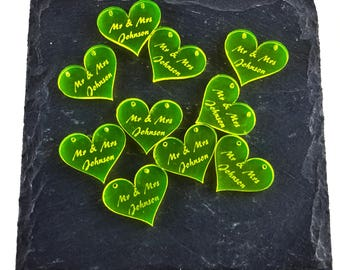 50 Small Personalised Fluorescent Yellow Love Hearts for Weddings