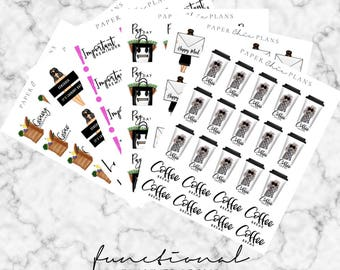 Functional Planner Stickers | Happy Mail/Coffee Break/Important/Pay Day/Laundry/Grocery Shopping | MATTE