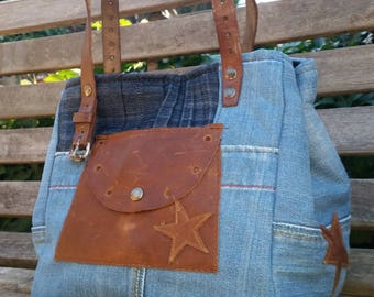 HANDMADE JEANS AND LEATHER BAG