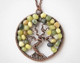 Tree of Life Pendant - New Jade Pendant - Wire Wrapped Pendant