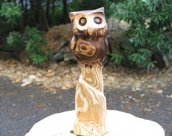 Owl sculpture, Wood chainsaw carving, wood carving Owl from Japanese Cedar