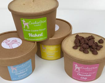 Vegan Cookie Dough Variety four pack - 4x 8oz Pots / Sweet Treat / Fun Unique Gift/ Chocolate Chip / Party favours / Wedding / Vegan Dessert