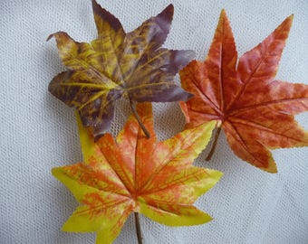 3 large fabric - shades of autumn leaves