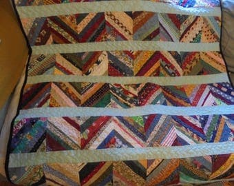 Strips of Scraps- Throw Quilt