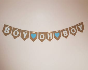 "Boy Oh Boy"" Bunting / Banner / Twins Decoration / Mum to be Garland / Baby Shower Party / Twin Boys"