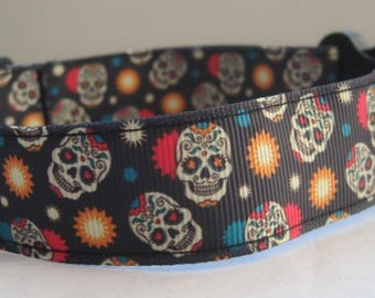 Sugar skull Dog collar or matching lead sun gothic