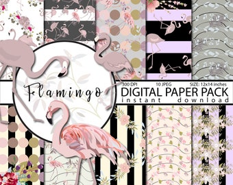 Flamingo digital paper Scrapbook Commercial use Flamingo scrapbook papers Flamingo Papers Purple digital paper Flamingo pattern Color 2018