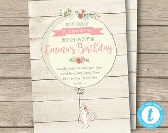 Bunny Invitation, Bunny Birthday, Girl Birthday Invitation, Editable Invitation, Templett Instant Download, Digital Invitation, Bunny Party