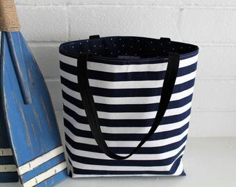 Fabric Tote Bag. Navy Blue and White Stripes with Black Straps. Beach Bag. Beach Tote. Purse. Business Tote Bag. Nautical Tote. Bridesmaids