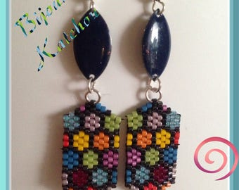 Colorful brick stitch earrings