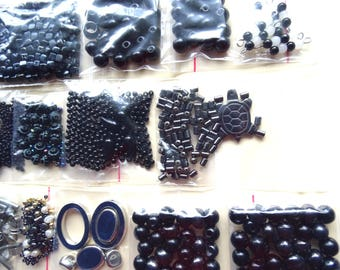 Black bead lot recycled from broken jewelry. 17 bags