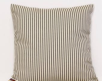 Pillow Cover with Black and Natural Ticking Print, Farmhouse Pillow Cover in Black and Natural Stripes, Ticking Print Rustic Pillow Cover