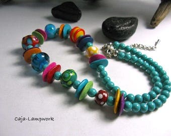Colourful handmade glass beads and ceramic beads necklace